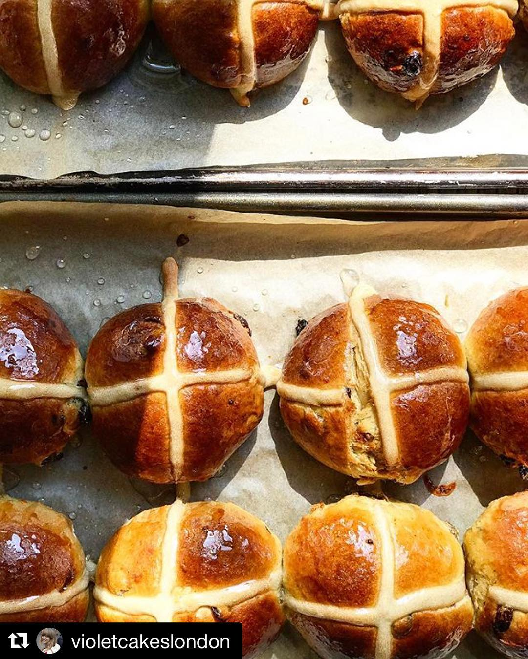Regram violetcakeslondon  Warm hot cross buns cooling in thehellip